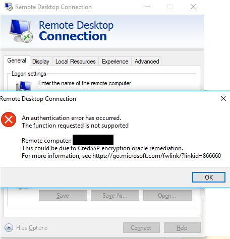 RDP issues after latest Windows update